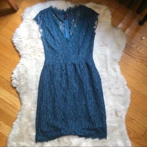 Aritzia Babaton Teal Lace Tobias V-Neck Mini Dress